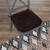 Memory Foam Chair Cushion-Square 16?x 16.25? Plush Chair Pad with Ties and PVC Dot Backing for Kitchen, Dining Room, or Porch by Lavish Home (Brown)