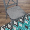 Memory Foam Chair Cushion-Square 16?x 16.25? Plush Chair Pad with Ties and PVC Dot Backing for Kitchen, Dining Room, or Porch by Lavish Home (Gray)