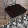 Chair Cushions-Set of 4 Square Foam 16?x 16? Chair Pads with Ties for Kitchen, Dining Room, Patio, Tailgating-Machine Washable by Lavish Home (Brown)