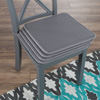 Chair Cushions-4 Set Square Foam 16?x 16? Chair Pads with Ties for Kitchen, Dining Room, Patio, Tailgating-Machine Washable by Lavish Home (Dark Gray)