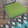 Chair Cushions-Set of 4 Square Foam 16?x 16? Chair Pads with ties for Kitchen, Dining Room, Patio, Tailgating-Machine Washable by Lavish Home (Green)