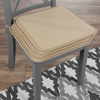 Chair Cushions-Set of 4 Square Foam 16?x 16? Chair Pads with Ties for Kitchen, Dining Room, Patio, Tailgating-Machine Washable by Lavish Home (Tan)