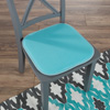 Memory Foam Chair Cushion-Square 16?x 16? Chair Pad with Non-Slip Backing for Kitchen, Dining Room, Patio, or Tailgating by Lavish Home (Blue)