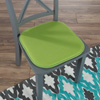 Memory Foam Chair Cushion-Square 16?x 16? Chair Pad with Non-Slip Backing for Kitchen, Dining Room, Patio, or Tailgating by Lavish Home (Green)