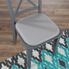Memory Foam Chair Cushion-Square 16?x 16? Chair Pad with Non-Slip Backing for Kitchen, Dining Room, Patio, or Tailgating by Lavish Home (Light Gray)