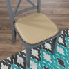 Memory Foam Chair Cushion-Square 16?x 16? Chair Pad with Non-Slip Backing for Kitchen, Dining Room, Patio, or Tailgating by Lavish Home (Tan)