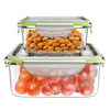 Glass Food Storage Containers-4-Pc. Set with Snap on Lids-Multi-Size Meal Prep Bowls- Microwave, Dishwasher and Refrigerator Safe by Classic Cuisine