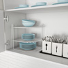 Two-Tiered Corner Shelf ? Powder Coated Iron Space Saving Storage Organizer for Kitchen, Bathroom, Office or Laundry Room by Lavish Home