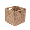 Villacera 12-Inch Square Handmade Wicker Storage Bin Foldable Basket made of Water Hyacinth | Set of 2
