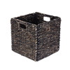 Villacera 12-Inch Square Handmade Wicker Storage Bin, Foldable Baskets made of Water Hyacinth in Black | Set of 2