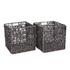 Villacera 12-Inch Square Handmade Wicker Storage Bin, Decorative Black Foldable Baskets made of Water Hyacinth | Set of 2