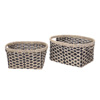 Villacera Bernard Handmade Wicker Water Hyacinth Oval Nesting Baskets Braided in Black and Natural Seagrass | Set of 2