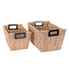 Villacera Ford Rectangle Handmade Wicker Baskets made of Water Hyacinth | Nesting Tub with Wire Frame | Set of 2