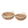 Villacera Elsie Handmade Wicker Water Hyacinth Round Nesting Baskets in Natural and White | 15? and 13? Diameters | Set of 2