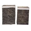 Villacera Portable Handmade Wicker Laundry Hampers with Lid made of Water Hyacinth | Set of 2 in Black Finish