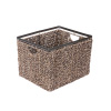 Villacera Rectangle Handmade Twisted Wicker Baskets made of Water Hyacinth | Nesting Brown and Natural Seagrass Tubs | Set of 3
