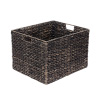 Villacera Rectangle Handmade Wicker Baskets made of Water Hyacinth | Black Finished Nesting Seagrass Tubs | Set of 2