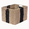 Villacera Rectangle Hand Weaved Wicker Baskets made of Water Hyacinth | Nesting Black Striped Seagrass Bins | Set of 2