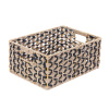 Villacera Rectangle Hand Weaved Wicker Baskets made of Water Hyacinth | Nesting Black and Natural Seagrass Bins | Set of 2