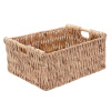Villacera Rectangle Handmade Twisted Wicker Baskets made of Water Hyacinth | Nesting Natural Seagrass Tubs | Set of 3
