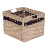 Villacera Handmade Brown Striped Rectangle Wicker Storage Bins, Foldable Baskets made of Water Hyacinth | Set of 2