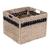 Villacera Handmade Black Striped Rectangle Wicker Storage Bins, Foldable Baskets made of Water Hyacinth | Set of 2
