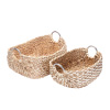 Villacera Dolores Handmade Wicker Water Hyacinth Rectangle Nesting Baskets in Natural and White Braided Seagrass | Set of 2