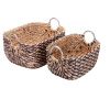Villacera Dolores Handmade Wicker Water Hyacinth Rectangle Nesting Baskets in Natural and Brown Braided Seagrass | Set of 2