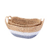 Villacera Tessa Handmade Wicker Water Hyacinth Oval Nesting Baskets in Gray and White | 24-inch & 20-Inch Wide | Set of 2