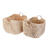 Villacera Tessa 15? Tall Handmade Wicker Water Hyacinth Rectangle Nesting Baskets in Natural and White Braided Seagrass | Set of 2