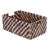 Villacera Rectangle Handmade Twisted Wicker Baskets made of Water Hyacinth | Nesting Brown and Natural Seagrass Bins | Set of 2