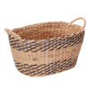 Villacera Oval Handmade Twisted Wicker Baskets made of Water Hyacinth | Nesting Brown and Natural Seagrass Bins | Set of 2