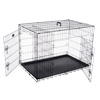 Double Door Folding Dog Crate- Portable Large 42-Inch Wire Kennel with Divider Panel and Leak Proof Plastic Tray by Pet Trex