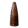 Villacera Handmade 15? Tall Brown Tapered Mango Wood Vase | Decorative Wave Carved Cylinder Vases | Eco-Friendly and Sustainable Wood