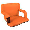 Wide Stadium Seat Chair Bleacher Cushion- Padded Back Support, Armrests, 6 Reclining Positions and Portable Carry Straps By Wakeman Outdoors (Orange)