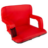 Wide Stadium Seat Chair Bleacher Cushion with Padded Back Support, Armrests, 6 Reclining Positions and Portable Carry Straps By Home-Complete (Red)
