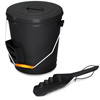 4.75 Gallon Black Ash Bucket with Lid and Shovel-Essential Tools for Fireplaces, Fire Pits, Wood Burning Stoves-Hearth Accessories by Home-Complete