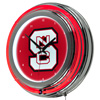 North Carolina State Chrome Double Rung Neon Clock