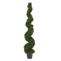 Faux Boxwood? Realistic and Lifelike Plastic 5 Foot Spiral Topiary Arrangement and Weighted Pot for Indoor or Outdoor Home or Office by Pure Garden