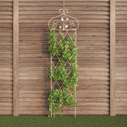 Garden Trellis- For Climbing Plants- 63? Decorative Lattice Metal Panel- For Vines, Roses, Vegetable Plants & Flowers by Pure Garden (Antique White)