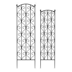 Garden Trellis- For Climbing Plants-Set of 2- Metal Panels with Decorative Scrolls-For Vines, Roses, Vegetable Plants & Flowers by Pure Garden (Black)