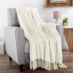 Chenille Throw Blanket- For Couch, Home Décor, Bed, Sofa & Chair-Oversized 60? x 70?- Lightweight, 5? Fringe, Ultra-Soft & Shiny in Ivory by LHC