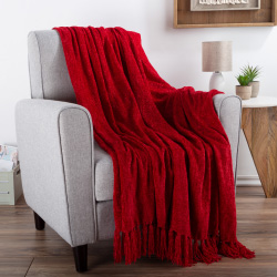 Chenille Throw Blanket- For Couch, Home Décor,Sofa & Chair-Oversized 60? x 70?- Lightweight, 5? Fringe, Ultra-Soft & Shiny in Vineyard Red by LHC