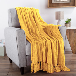 Chenille Throw Blanket- For Couch, Home Décor,Sofa & Chair-Oversized 60? x 70?- Lightweight, 5? Fringe, Ultra-Soft & Shiny Primrose Gold by LHC
