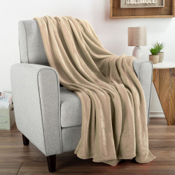 Flannel Fleece Throw Blanket- For Couch, Home Décor, Bed, Sofa & Chair- Oversized 60? x 70?- Lightweight, Soft & Plush Microfiber in Desert Tan by LHC