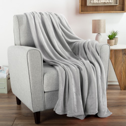 Flannel Fleece Throw Blanket- For Couch, Home Décor, Sofa & Chair- Oversized 60? x 70?- Lightweight, Soft & Plush Microfiber in Dawn Gray by LHC