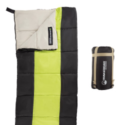 Kids Sleeping Bag-Lightweight, Carrying Bag with Compression Straps-For Camping, Backpacking, and Sleepovers by Wakeman Outdoors (Neon Green/Black)