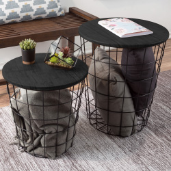 Nesting End Tables with Storage - Set of 2 Convertible Round Metal Storage Basket Base with Veneer Top - Accent Side Tables By Lavish Home (Black)
