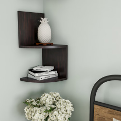 Floating Corner Shelf- 2 Tier Wall Shelves with Hidden Brackets to Display Décor, Books, Photos, More- Hardware Included by Lavish Home (Dark Brown)