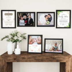 11x14 Picture Frame Set-6 Pack-Gallery Photo Display - Black Frames for Wall Mounting or Tabletop Format-Glare Resistant Glass by Lavish Home